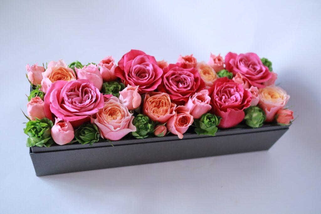 ボックスフラワー・薔薇の箱詰め